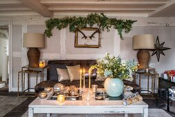 Festive room with wood-beamed ceiling