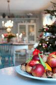 Fruit bowl in festive dining room