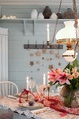 Classic lamp above festively set table