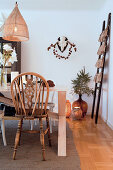 Wintry decorations in dining room in shades of brown