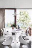 Dining room with designer furniture and panoramic sea views