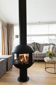 Modern free-standing fireplace in living area