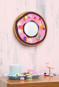 Mirror with doughnut frame made from old chopping board