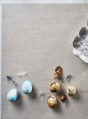 Marbled Easter eggs on table