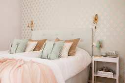 Elegant bedroom in pastel and champagne shades