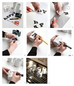 Instructions for decorating mugs with block letters