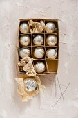 Vintage Christmas-tree baubles in old carboard box