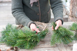 Natural Advent wreath made of fir and pine bind