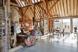 Open-plan interior of converted barn