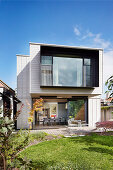 Modern architect-designed house with a cantilevered cube