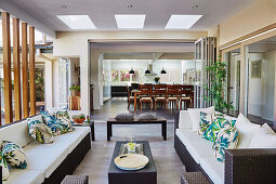 Elegant outdoor furniture on the covered terrace