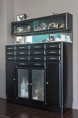 Black retro cabinet with curiosities in glass-fronted modules