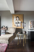 Eclectic furnishings and curiosities in living room