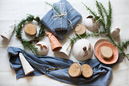 Pottery ornaments, gifts wrapped in fabric and larch twigs