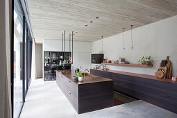 Moderne Küche mit dunklen Holzfronten im Architektenhaus