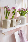 Tulips in ceramic vases on shelves