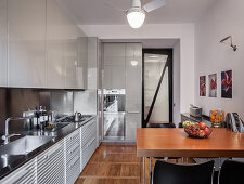 Breakfast table in designer kitchen