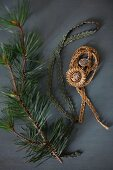 Brocade ribbon, Christmas-tree baubles and fir branch