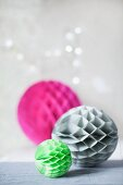 Colourful honeycomb paper balls