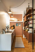 Simple kitchen counter and partition shelving