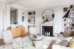 Classic designer living room in pale earthy tones