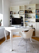 Desk with curved legs in white study