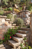 Stone steps in terraced garden