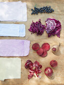 Fabrics dyed using plants (blueberries, red cabbage, beetroot, red onions)