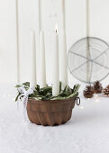 Advent wreath in bundt cake tin