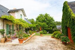 French, stone country house with large terrace and garden