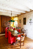Mediterranean country-house dining room with stone walls