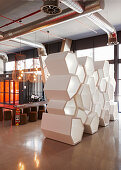 Partition made from hexagonal elements in lobby
