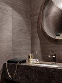 Elegant bathroom in brown tones