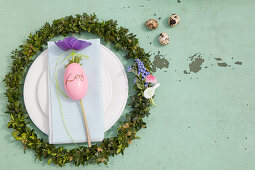 Easter place setting with box wreath