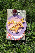 Bow-shaped pastries on purple plate in meadow