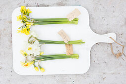 Labelled bunches of different narcissus on chopping board