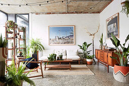 Retro living room with green plants