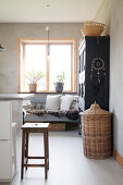 Comfortable bench in modern country-house kitchen