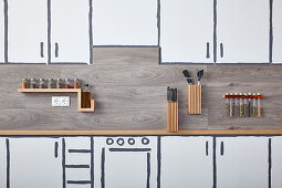 Various kitchen storage ideas in kitchen painted on wall