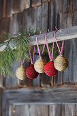 Handmade baubles wrapped in twine
