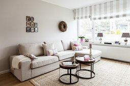 Pale sofa set and set of tables in living room