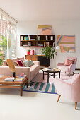 Artworks made from washi tape in living room in pastel shades