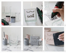 Painting glass jars with chalk paint