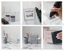 Glasgefäße mit Kreidefarbe bemalen
