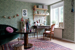 Granny-chic living room with desk next to window