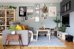 Living room in shades of grey and brown