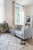 Pale grey sofa in living room of period apartment