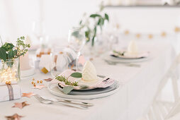 Modern place settings on Christmas table