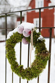 Mossy winter wreath with apples hung on fence