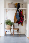 Coat rack, old chairs and small fir tree in basket in hallway